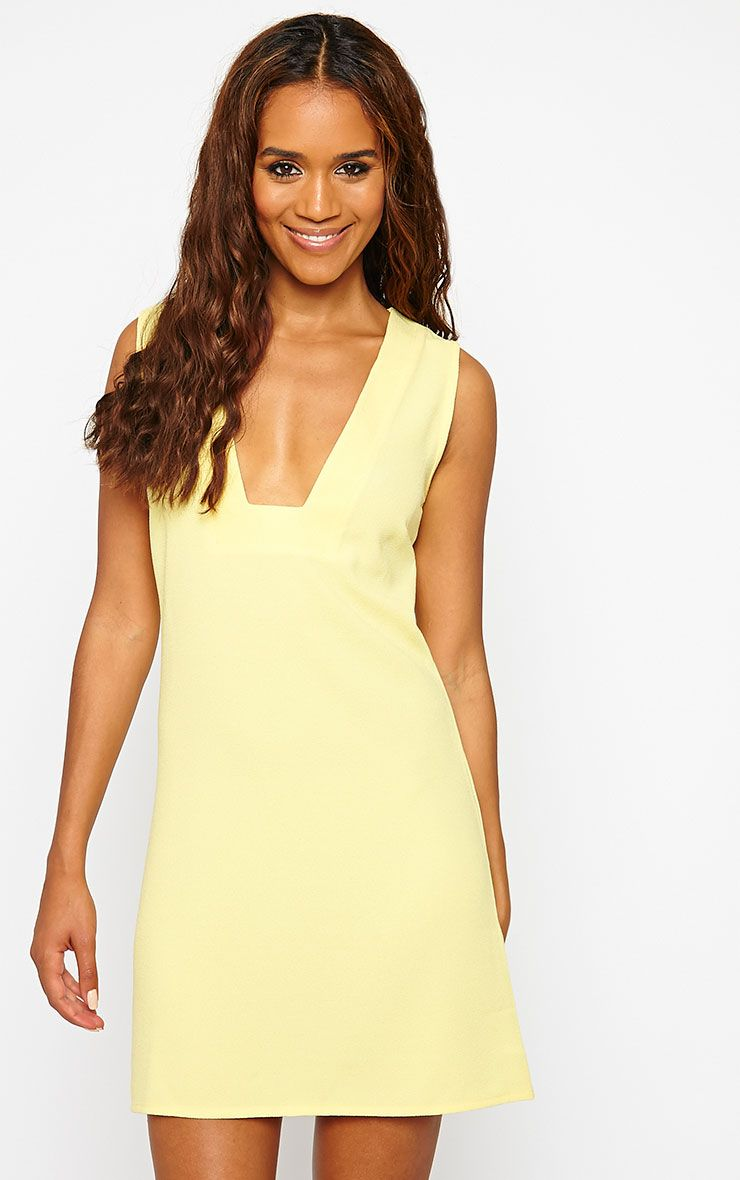 Jadako Yellow Sleeveless Loose Fit Square Neck Dress 1