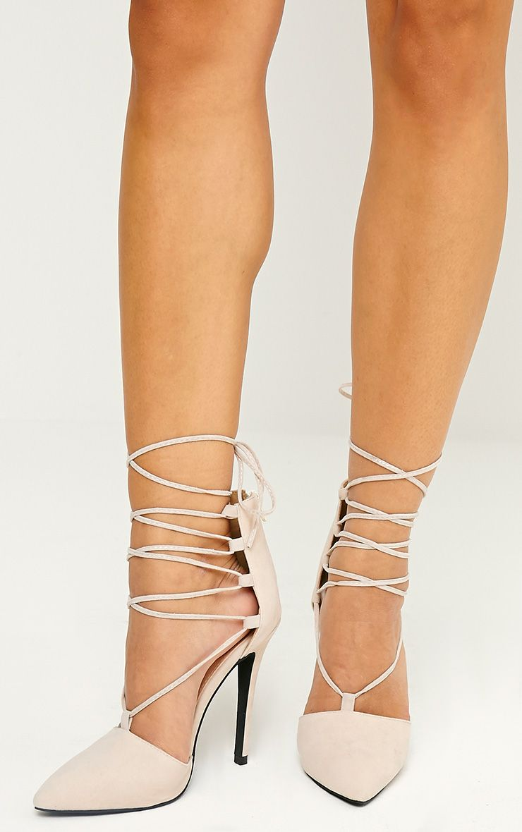 Bali Nude Faux Suede Pointed Strappy Lace Up Shoes 1