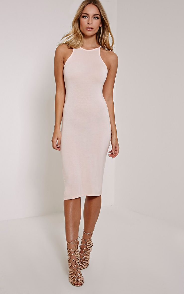 Basic Nude Thin Strap Racer Neck Jersey Midi Dress 1