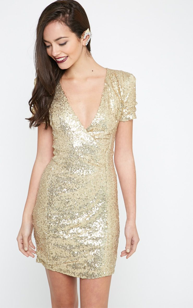 Marnie Gold Sequin Wrap Dress 1