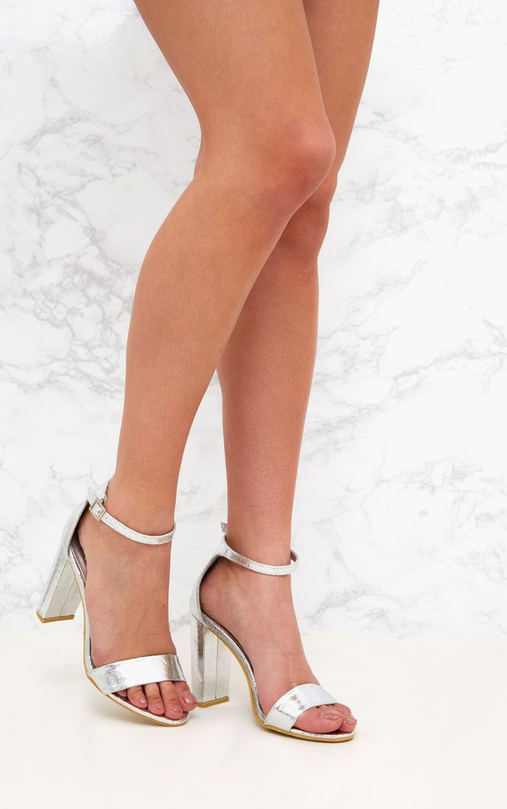 May Silver Block Heeled Sandals