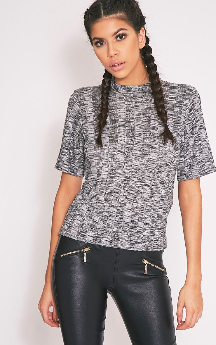 Laylae Grey Fine Knit Short Sleeve Top 1
