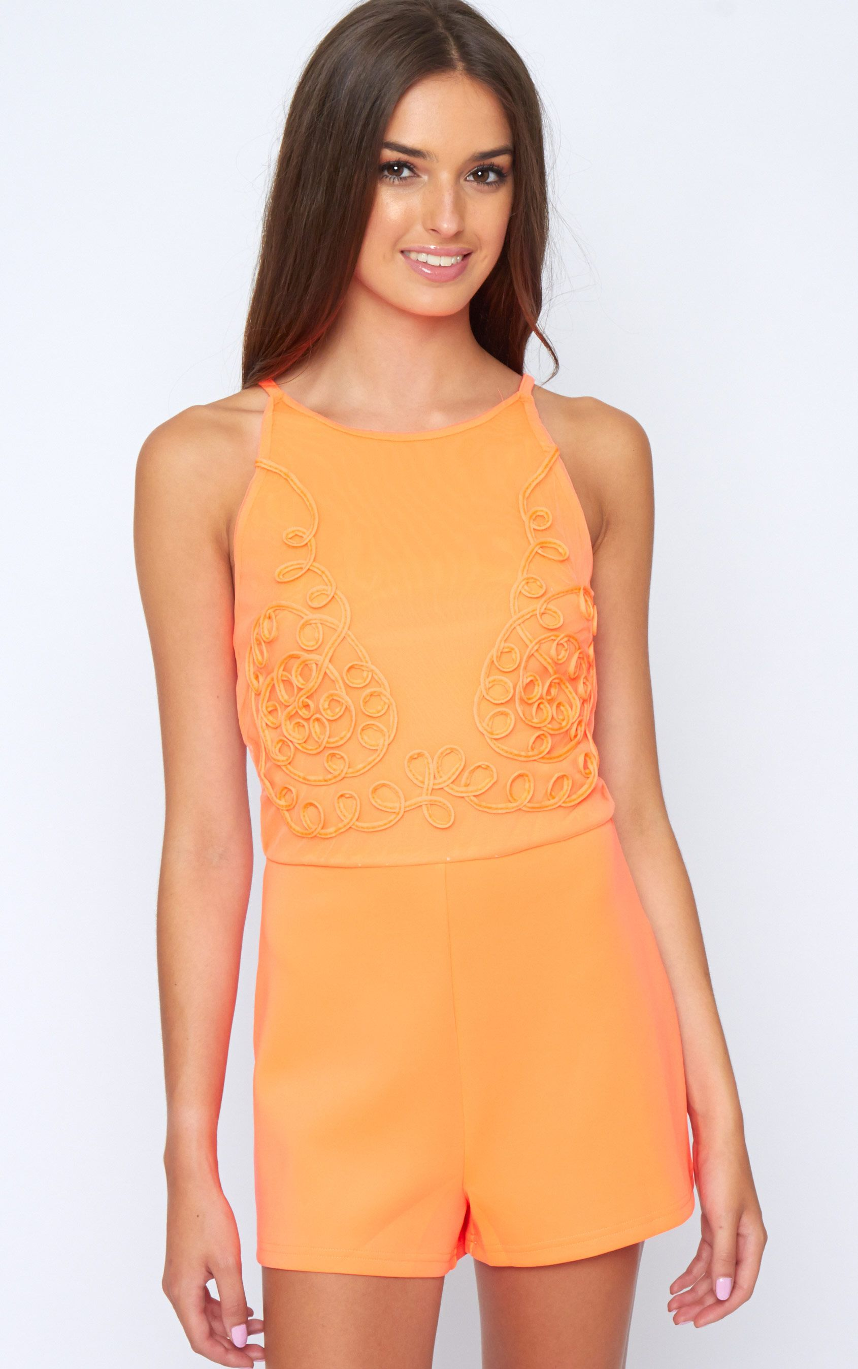Lena Neon Coral Embroidered Playsuit  1