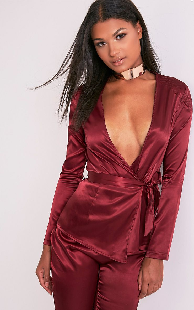 Sanciah Burgundy Satin Wrap Front Blazer