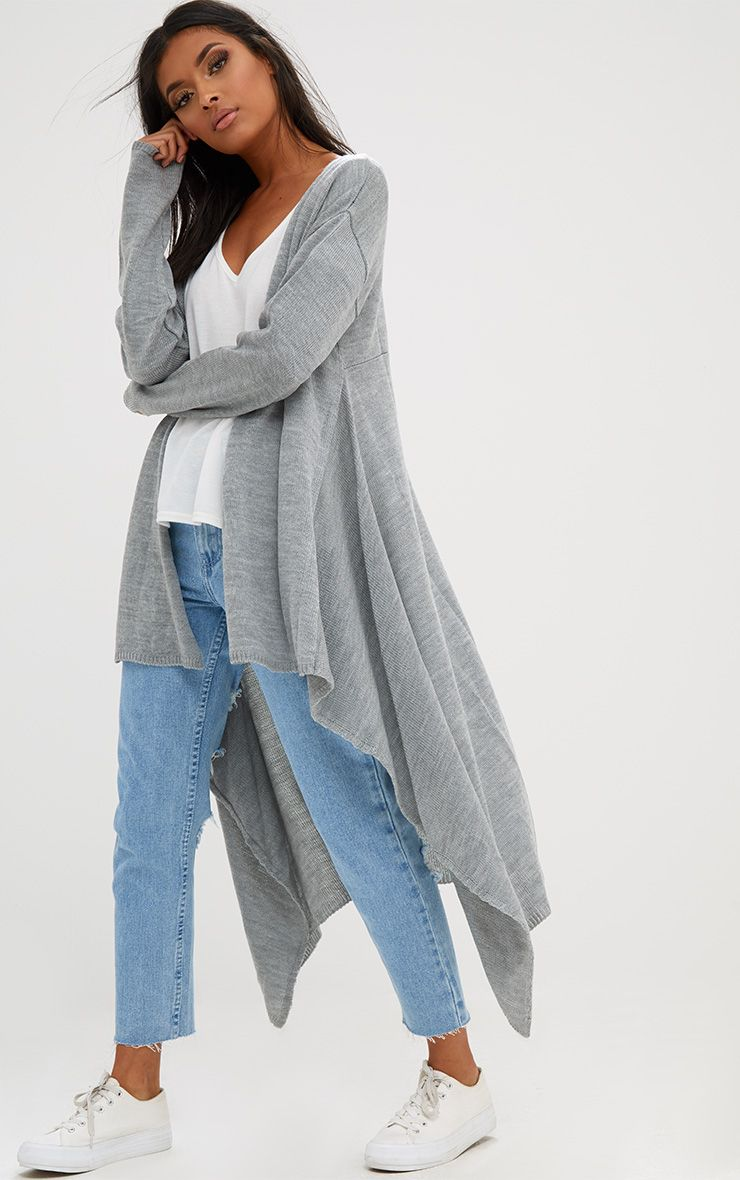 Grey Knitted Waterfall Cardigan