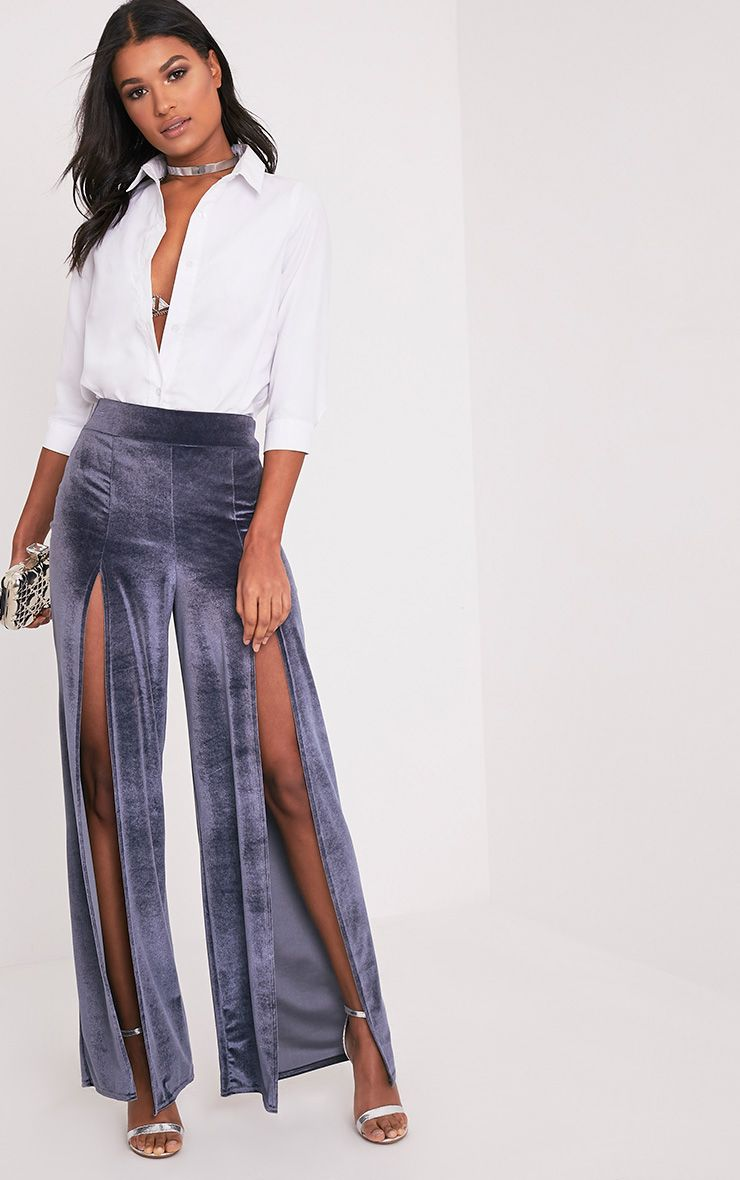 Kiley Grey Split Front Velvet Wide Leg Trousers