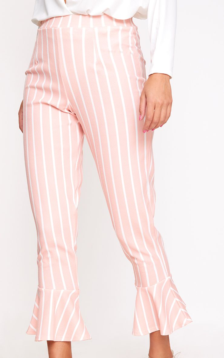 pantalon rose p le rayures et ourlet vas pantalons. Black Bedroom Furniture Sets. Home Design Ideas