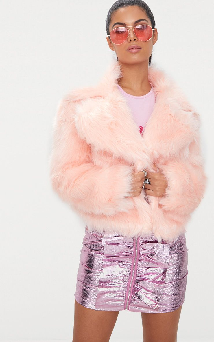 Baby Pink Faux Fur Jacket  Prettylittlething Usa-7245