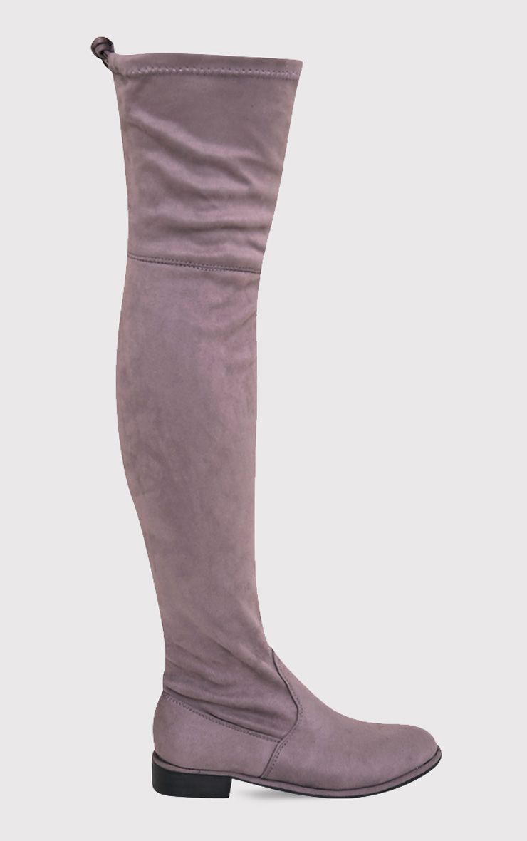 Hillary Grey Faux Suede Over The Knee Flat Boots 1