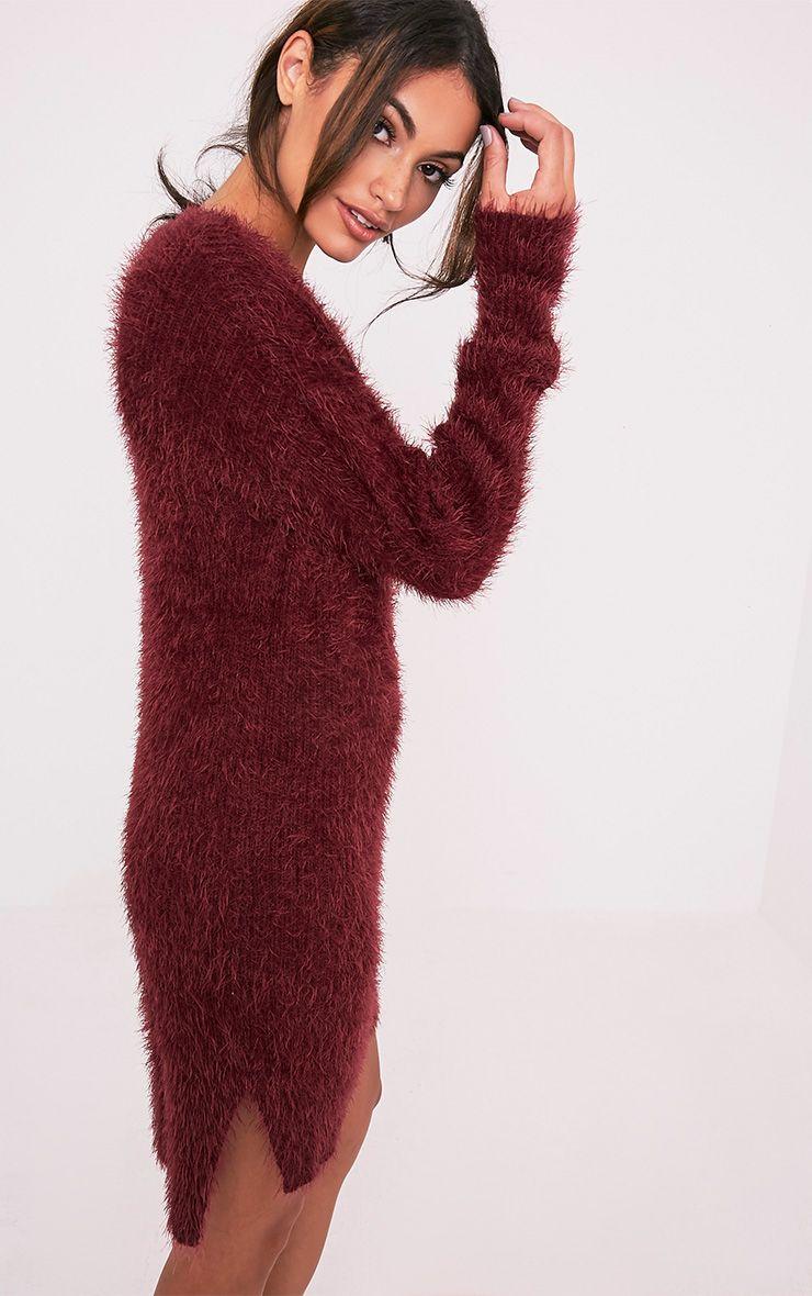 Floraline Burgundy Lace Up Mohair Knit Jumper Dress 4