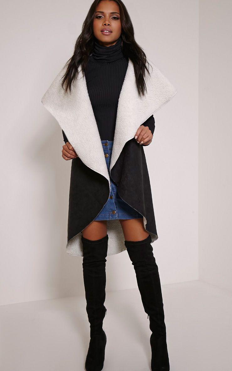 Alie Black Sleeveless Faux Shearling Waterfall Coat 1