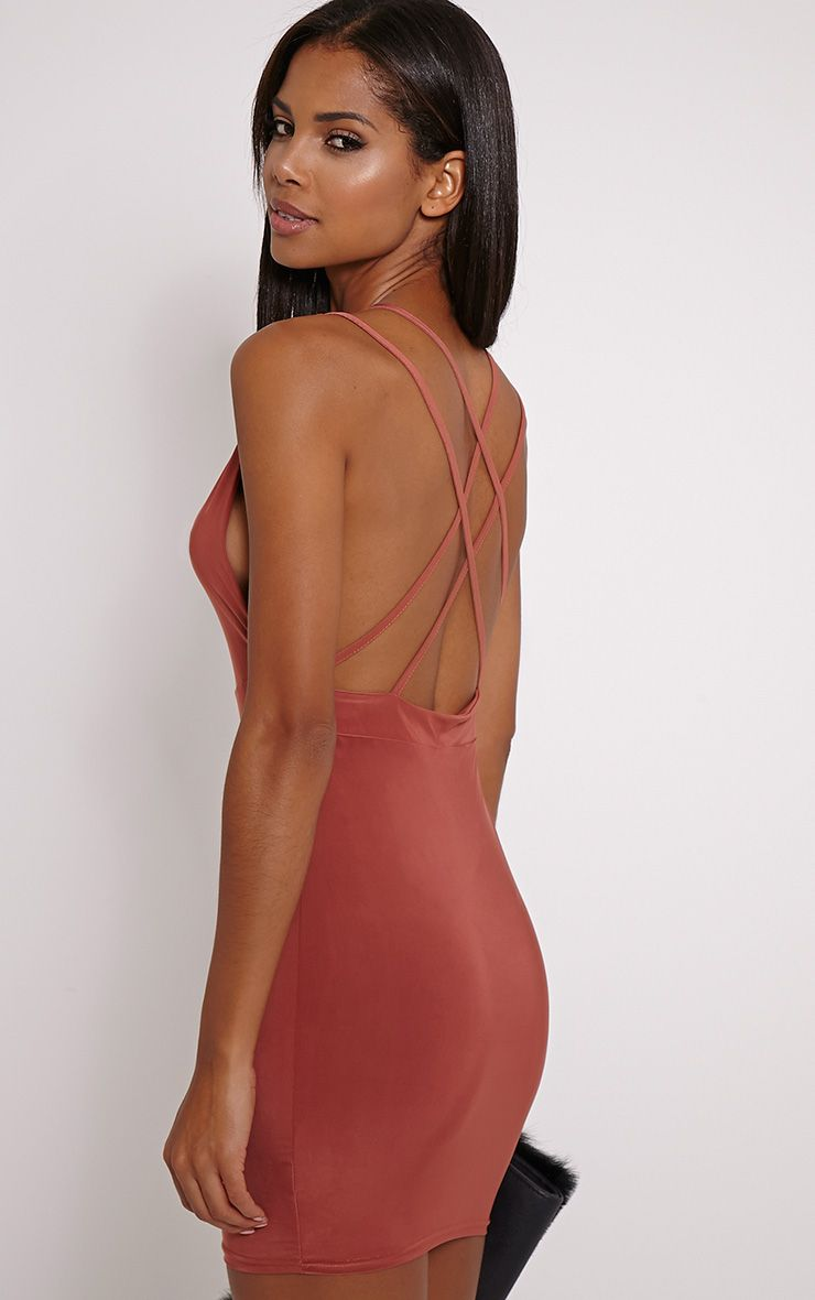 Millia Dark Rose Back Detail Mini Dress 1