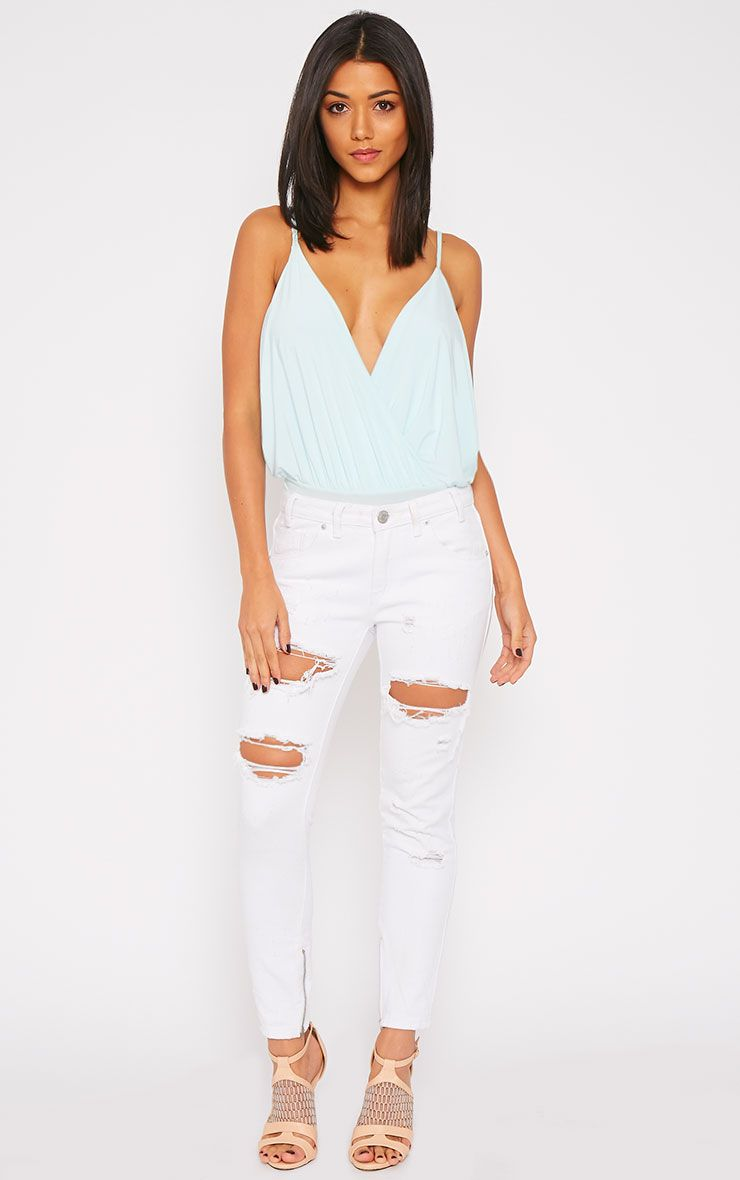 Miranda White Ankle Zip Mom Jeans 1