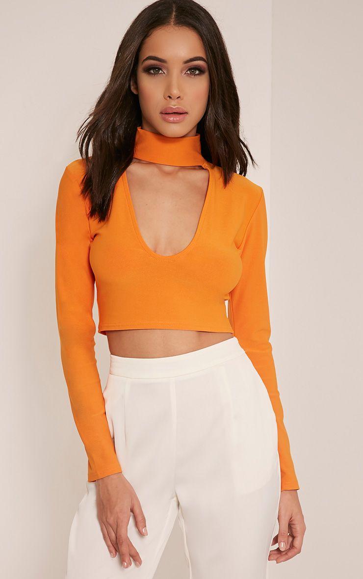 Jenifer Bright Orange Cut Out Neck Crop Top 1