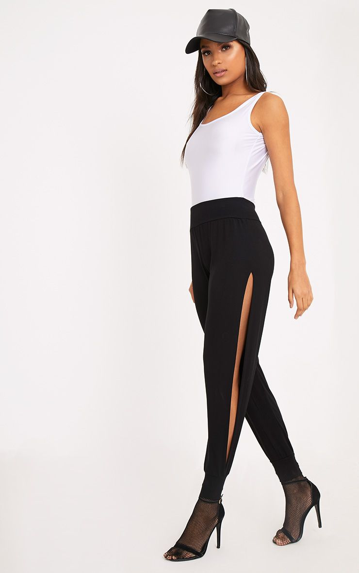 Chasity Black Split Side Jersey Trousers