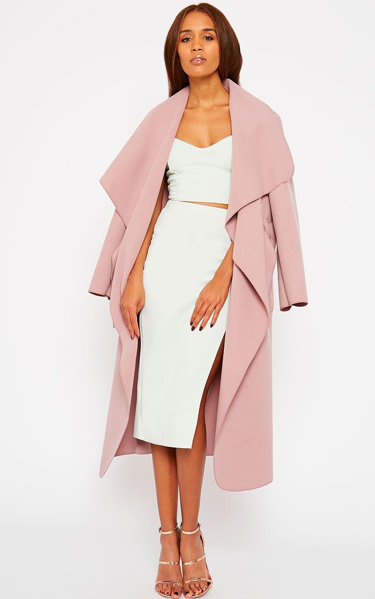 Veronica Dusty Pink Oversized Waterfall Belt Coat 1