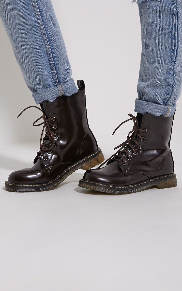 Eleni Brown Rubber Sole Lace Up Boots 1