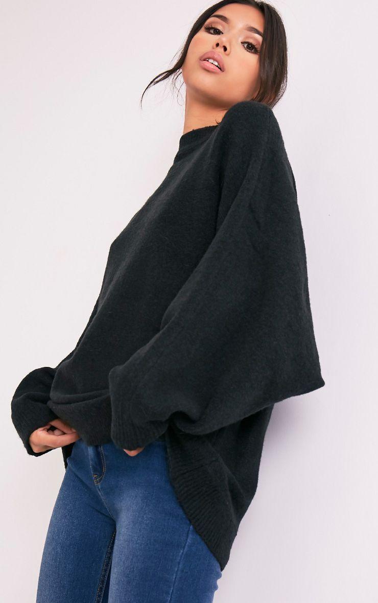 Raysa Black Oversized Knitted Jumper