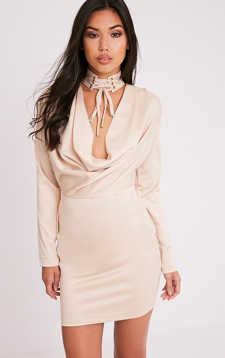 Chrissie Champagne Lace Up Satin Bodycon Dress