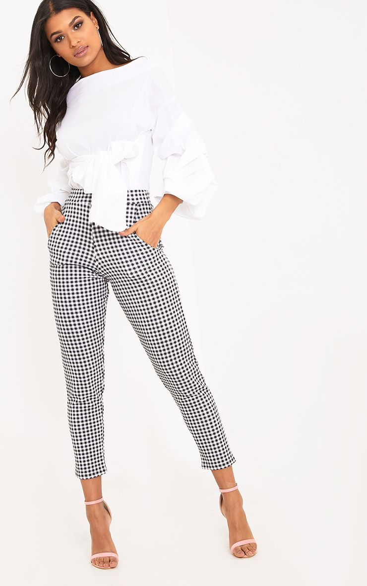 Sage Black Gingham Trousers