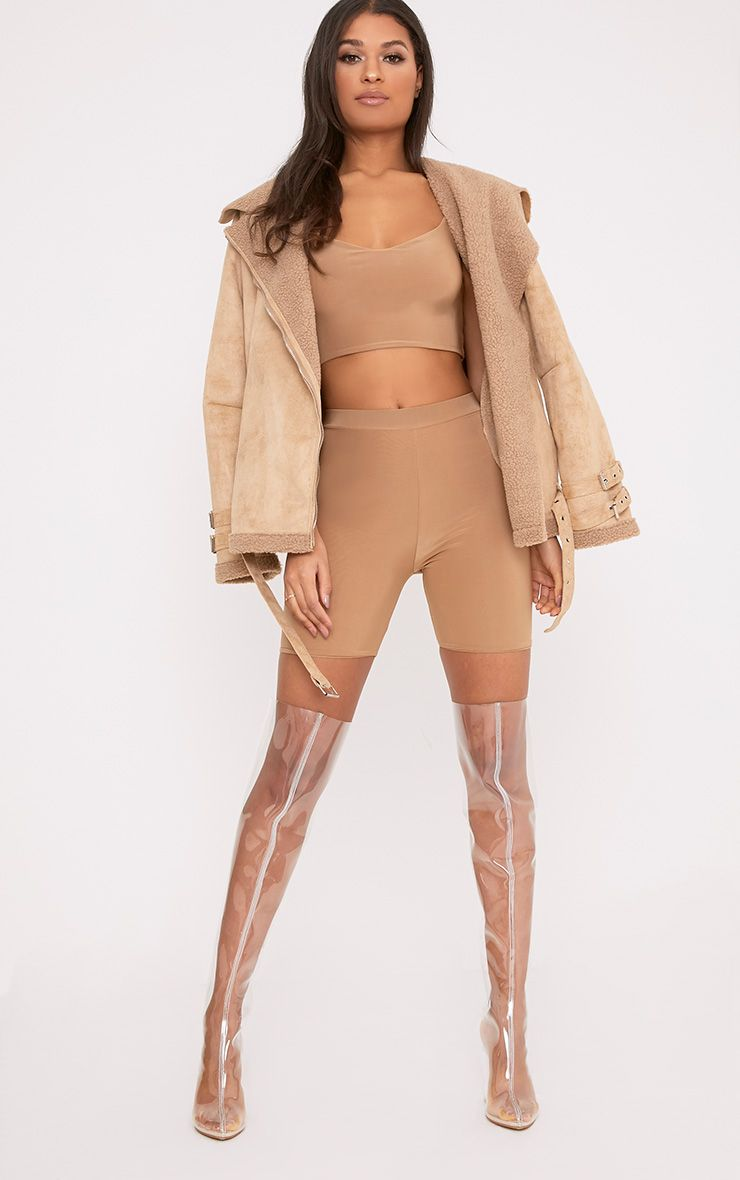 Bella Camel Slinky High Waisted Cycle Shorts