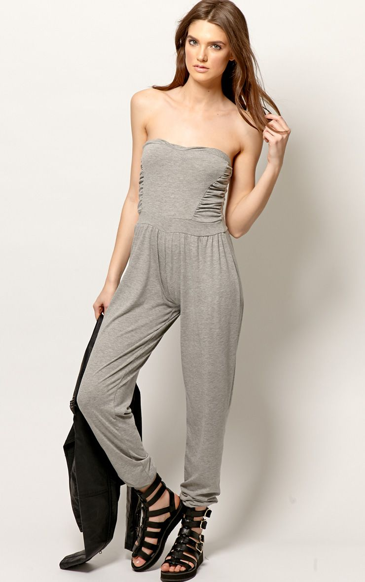 Shelby Grey Ruched Jumpsuit 1