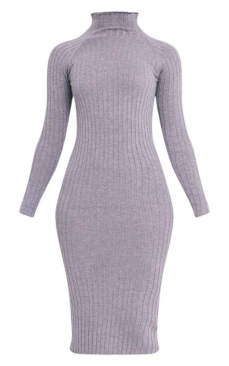 Katalina robe midi grise tricotée à côtes larges 3