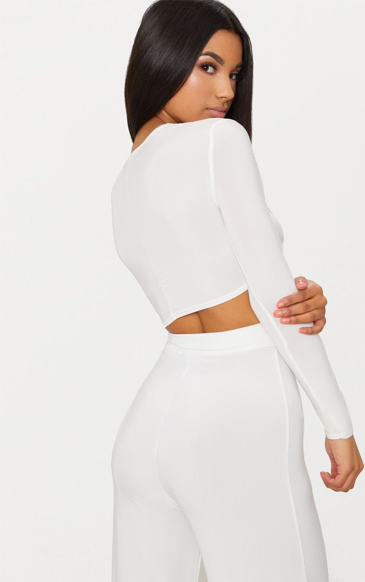 Cream Slinky Knot Front Long Sleeve Crop Top Pretty Little Thing Shop For Cheap Price Really The Cheapest Online l81kk
