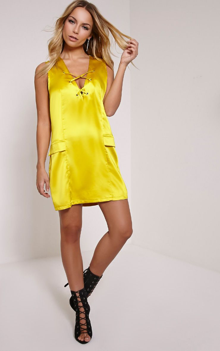 Elliya Yellow Lace Up Shift Dress 1