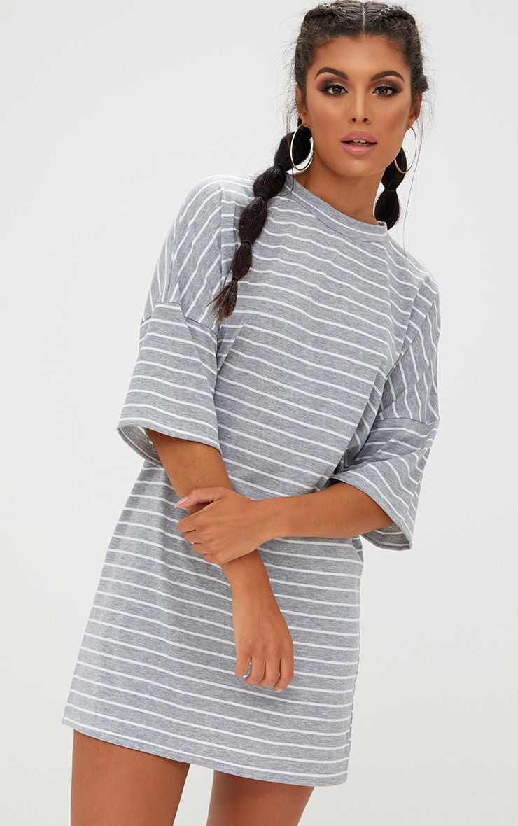 Grey Striped Oversized T Shirt Dress