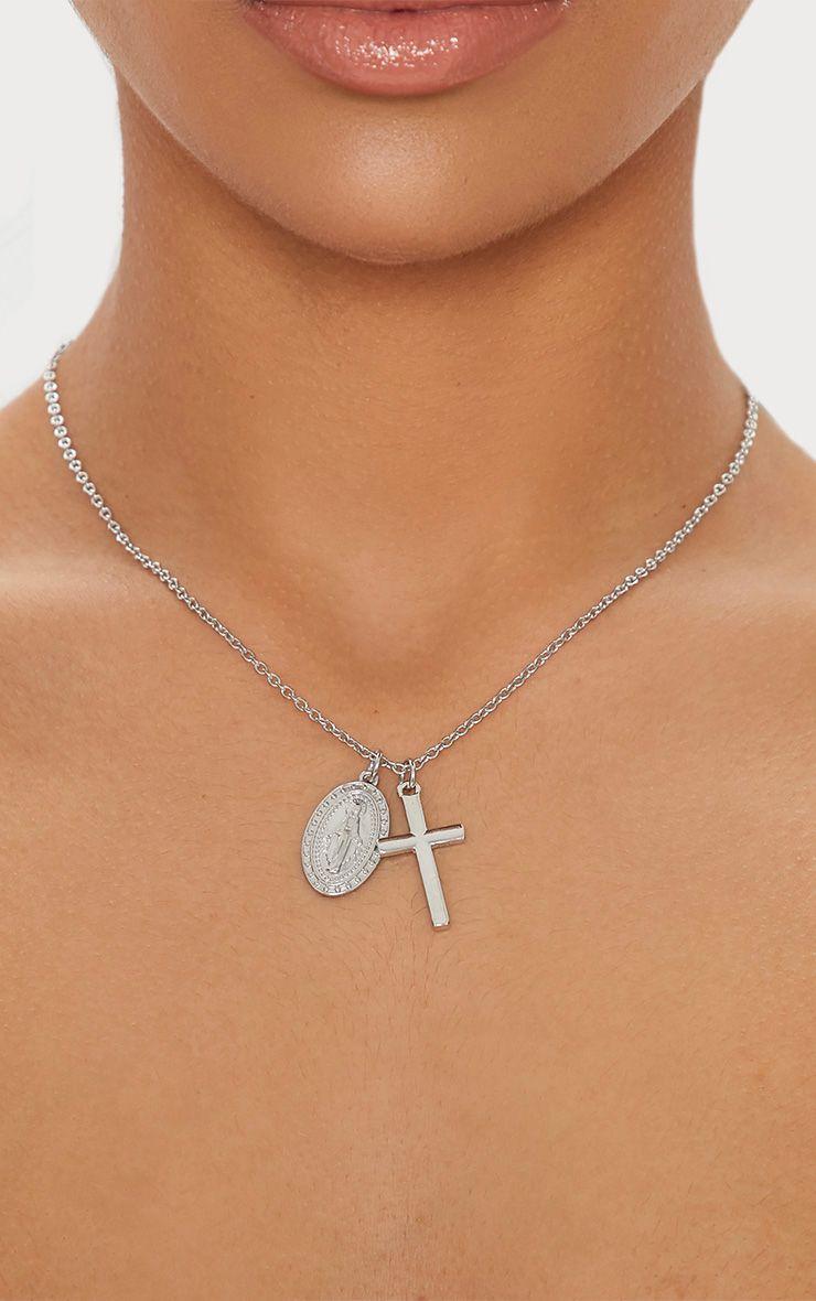 Silver Renaissance Pendant Cross Necklace 1