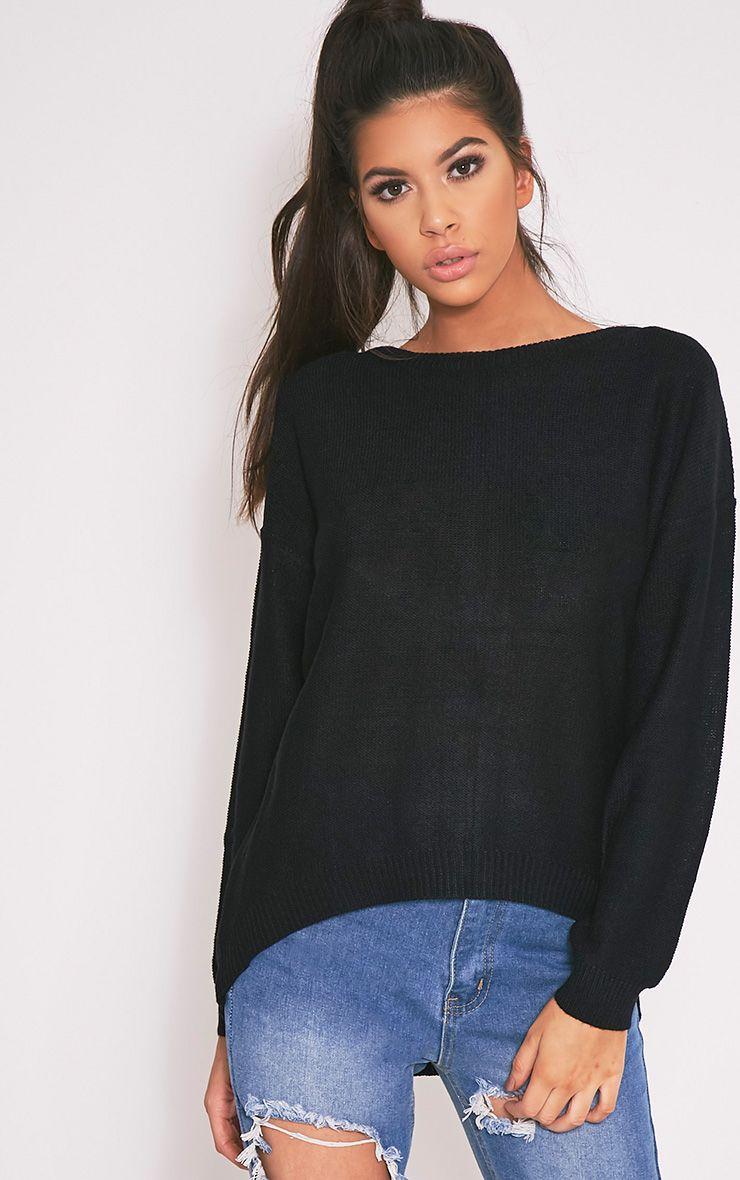 Trisha Black Zip Back Knitted Jumper 1