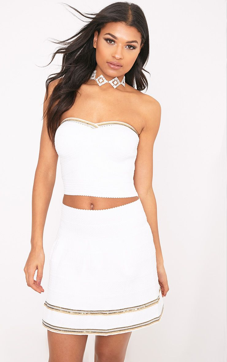 Calvina White Bandage Beaded Bandeau Crop Top