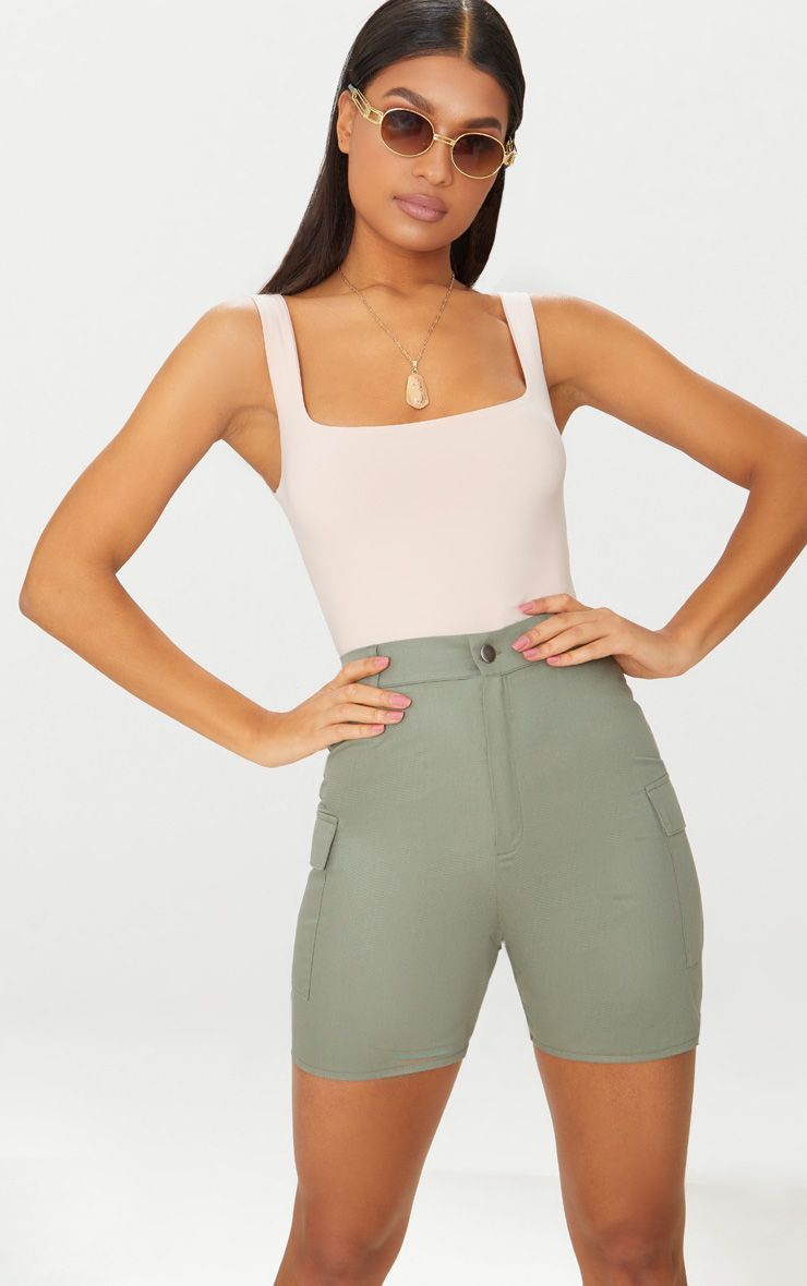 Khaki Cargo Pocket Shorts