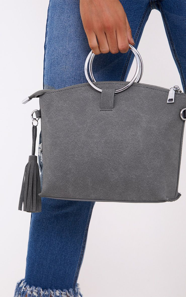 Grey Double Ring Handled Textured Bag