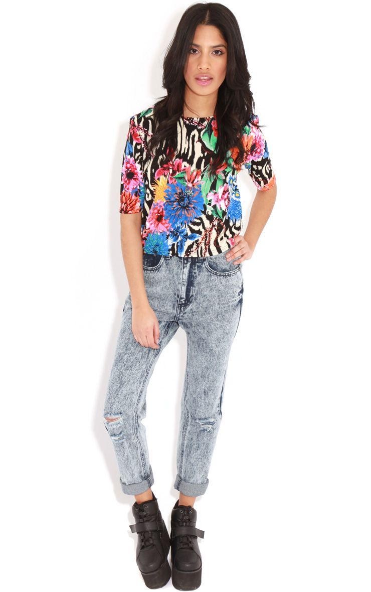 Frankie Acid Wash Ripped Mom Jeans 1