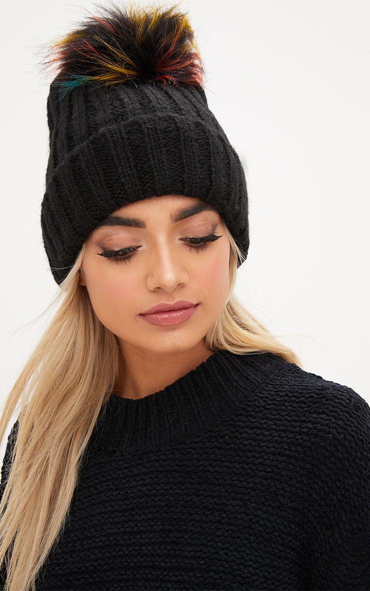 Black Ribbed Multi Fur Pom Hat