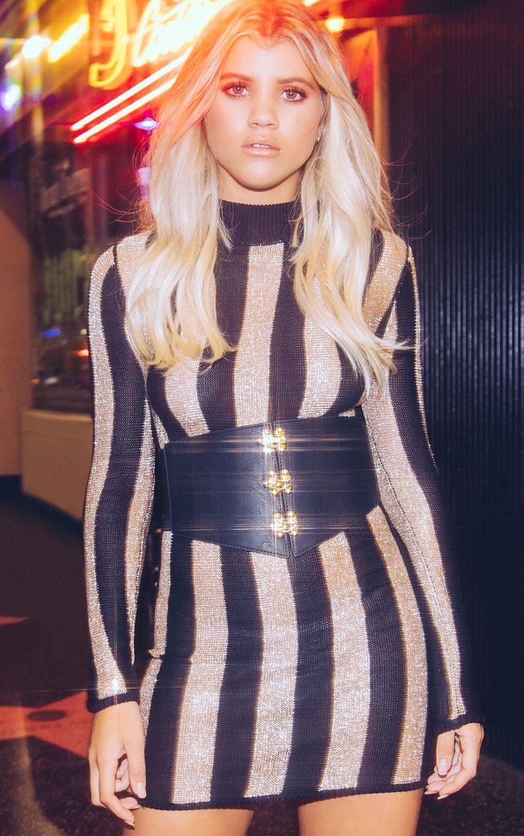Amias Sheer Black Metallic Knitted Mini Dress
