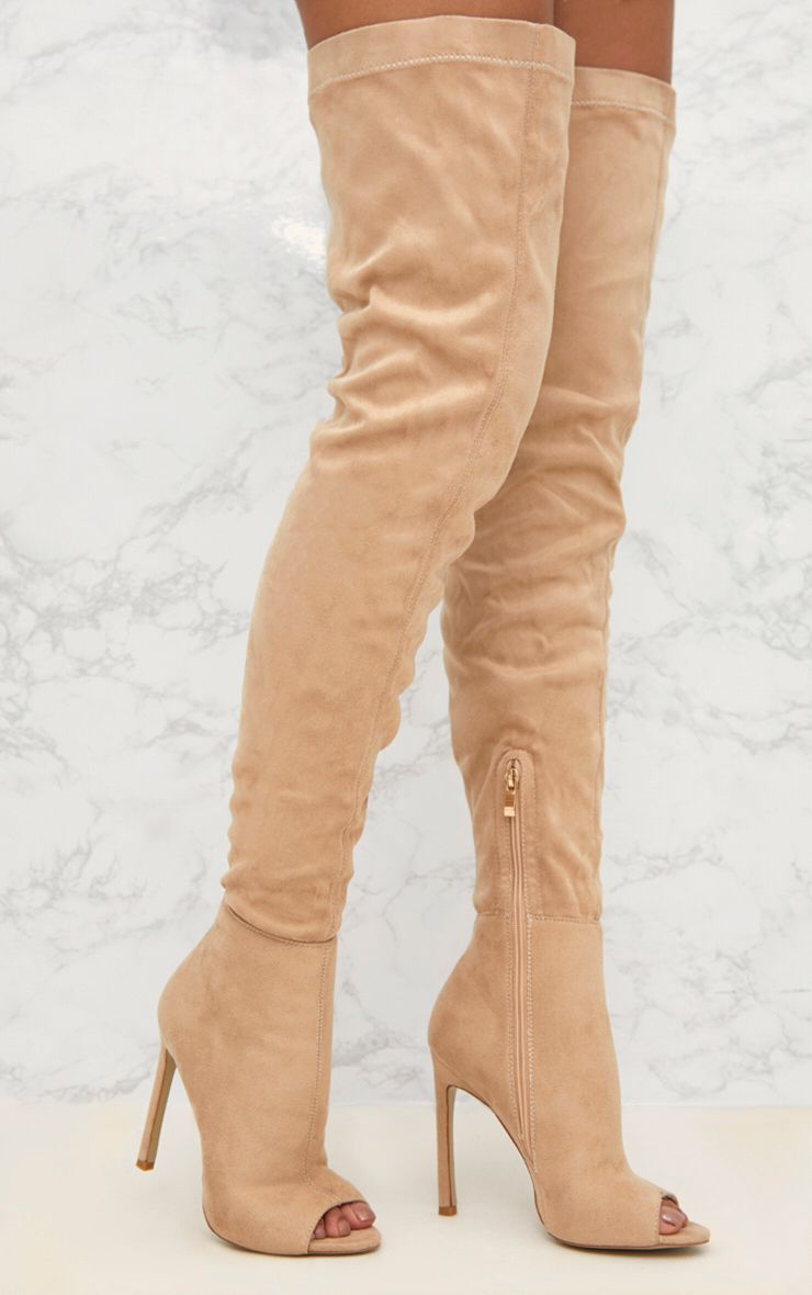 Nude Faux Suede Thigh High Peep Toe Heeled Boots ...