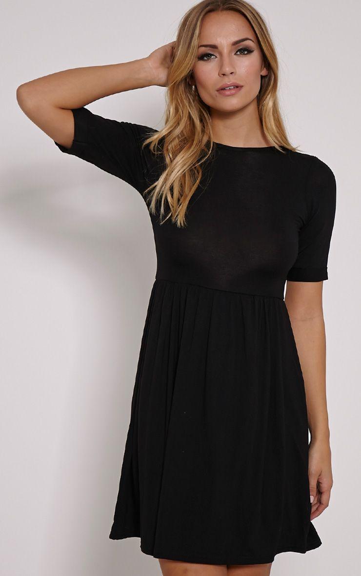 Basic Black 3/4 Scoop Back Jersey Skater Dress 1
