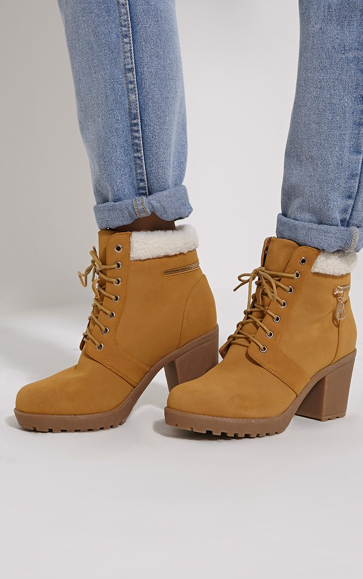 Marian Camel Faux Suede Shearling Lace Up Boots 1