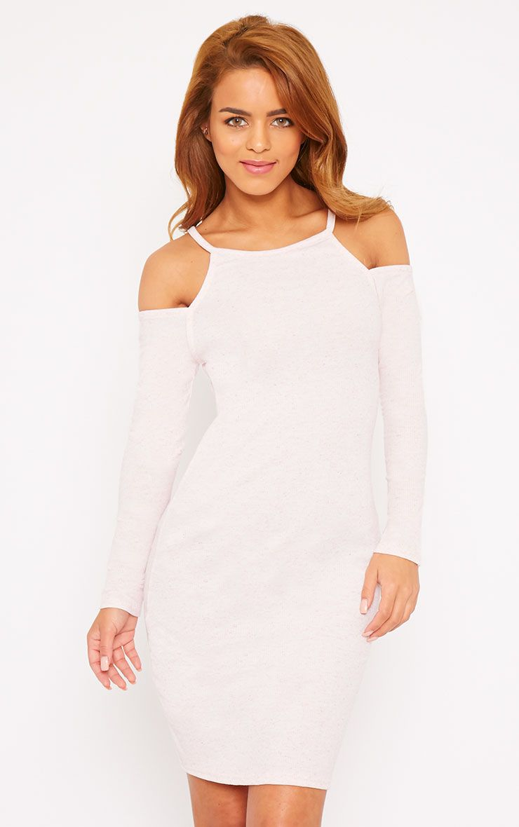 Geri Pink Ribbed Cut Out Shoulder Mini Dress 1