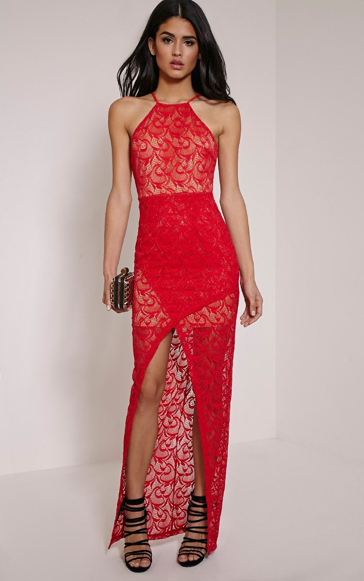 Dianie Red Lace Maxi Dress 1
