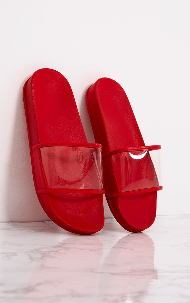 Red Clear Strap Sliders