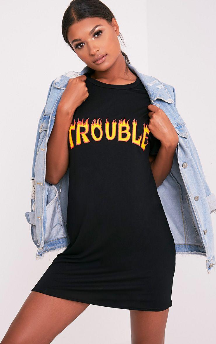 Trouble Black Slogan T-Shirt Dress 1