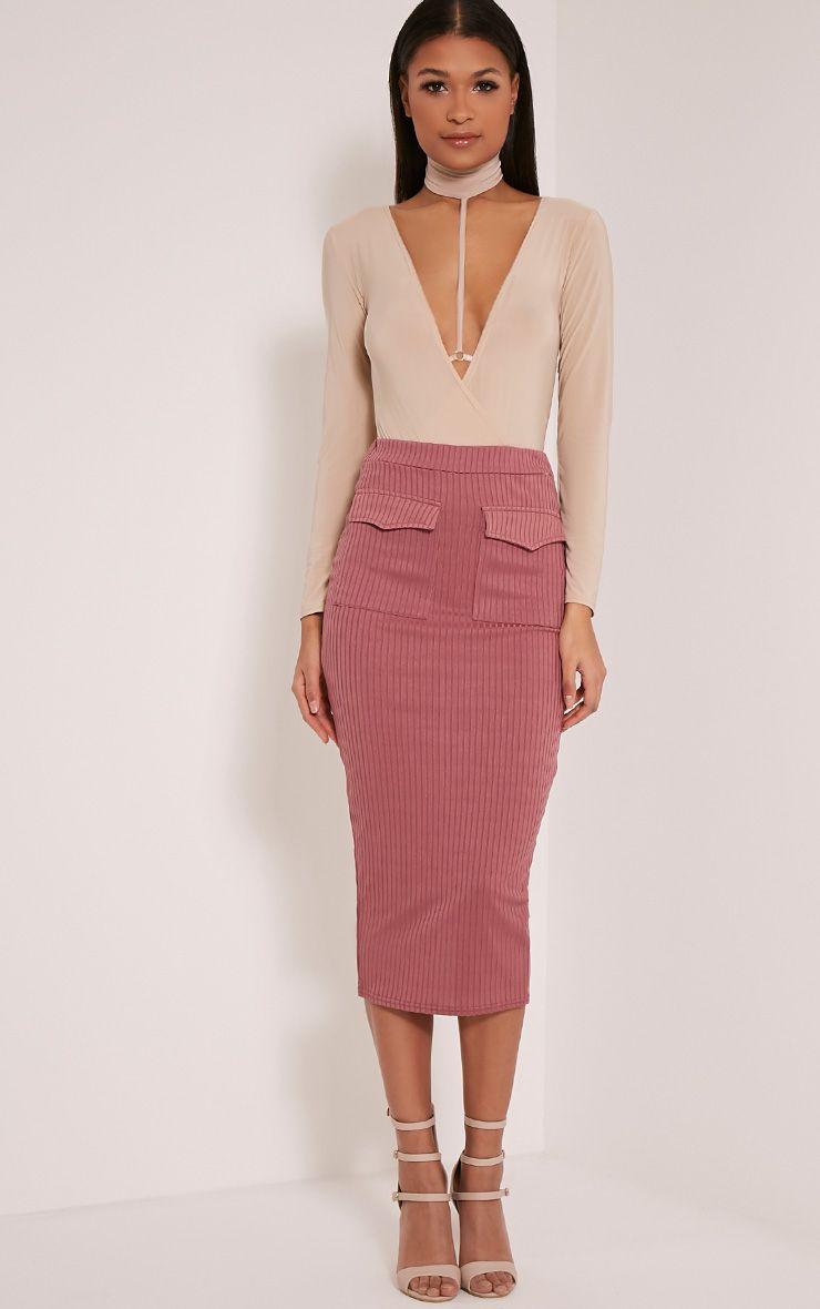 Esta Rose Pocket Ribbed Longline Midi Skirt 1