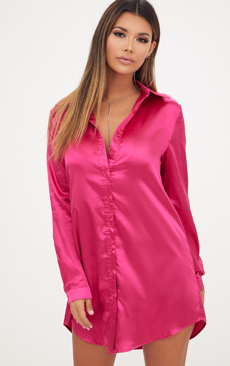 Fuchsia Satin Button Front Shirt Dress