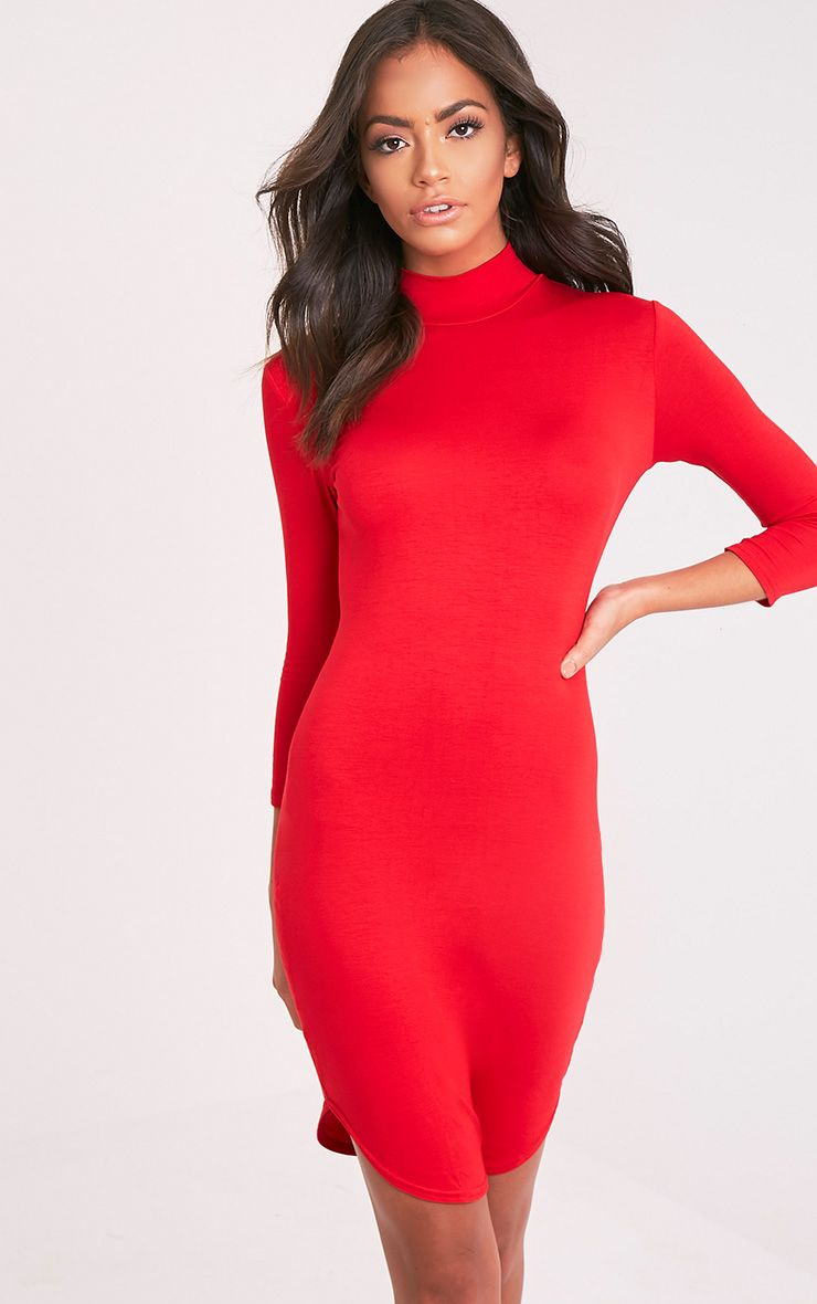 Alby Red 3/4 Sleeve Curve Hem Bodycon Dress