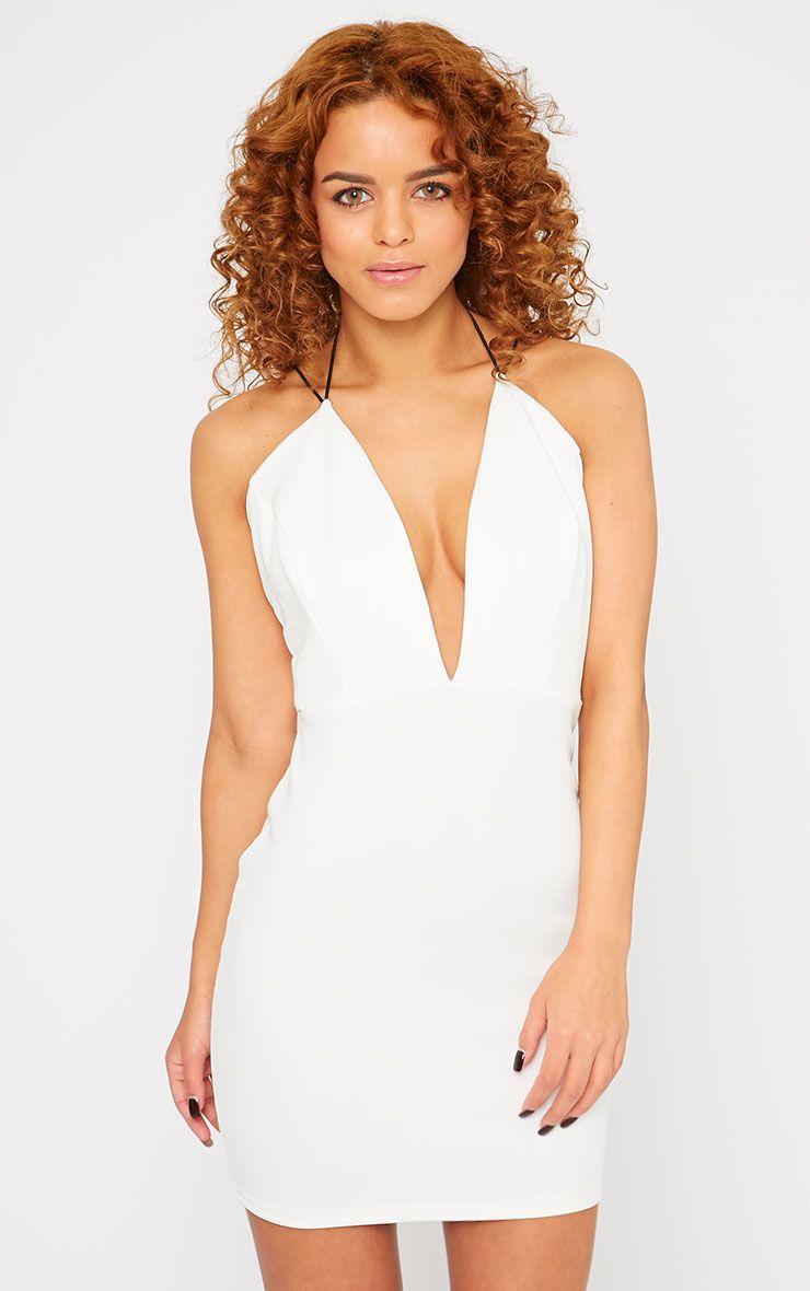 Gisele White Plunge Dress 1