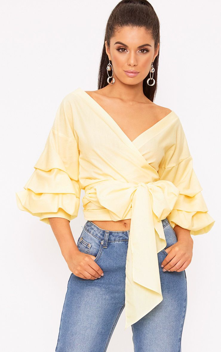 Marlow Lemon Oversized Ruffle Sleeve Low Shoulder Shirt
